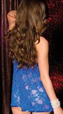 Blue Floral Lace Babydoll Set - Blue