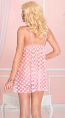 Mesh Polka Dot Babydoll Set - Baby Pink