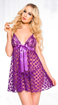 Mesh Polka Dot Babydoll Set - Purple