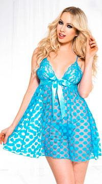 Mesh Polka Dot Babydoll Set - Turquoise