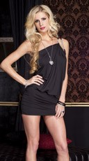 Asymmetrical Club Dress - Black