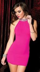 High Neck Hot Pink Mini Dress - Hot Pink