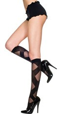 Sheer Knee Highs with Big Diamond Design - Black