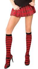 Striped Knee Highs - Black/Red