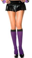 Striped Knee Highs - Black/Purple