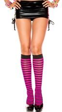 Striped Knee Highs - Black/Hot Pink