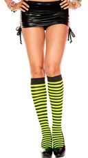 Striped Knee Highs - Black/Neon Green