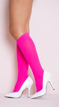 Opaque Knee Highs - Hot Pink
