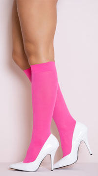 Opaque Knee Highs - Fuchsia