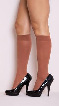 Opaque Knee Highs - Suntan