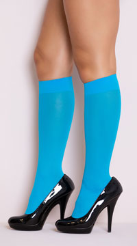 Opaque Knee Highs - Turquoise