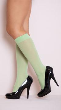 Opaque Knee Highs - Apple Green