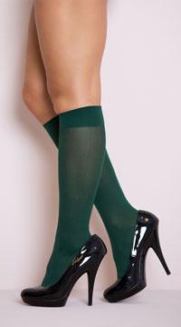 Opaque Knee Highs - Hunter Green