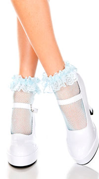 Fishnet Ankle Socks with Ruffle Trim - Baby Blue