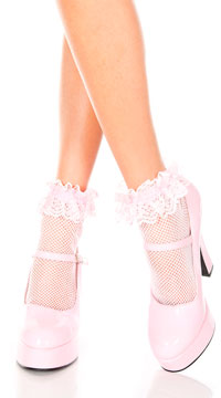 Fishnet Ankle Socks with Ruffle Trim - Baby Pink