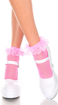 Fishnet Ankle Socks with Ruffle Trim - Neon Pink