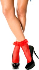 Fishnet Ankle Socks with Ruffle Trim - Red