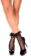 Fishnet Ankle Socks with Ruffle Trim - Black