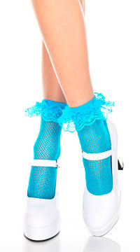 Fishnet Ankle Socks with Ruffle Trim - Turquoise
