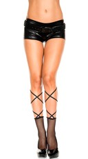 Fishnet Ankle Highs with Lace Up Top - Black