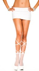 Fishnet Ankle Highs with Lace Up Top - White