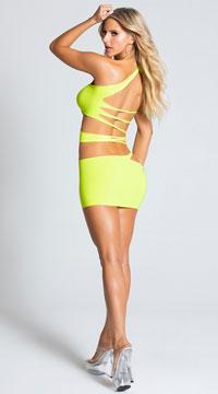 Rock'n One Shoulder Mini Dress - Neon Green