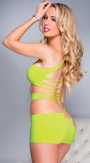 Rock'n One Shoulder Mini Dress - Neon Green