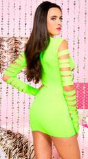 Heartbreaker Cut Out Long Sleeve Mini Dress - Neon Green
