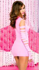 Heartbreaker Cut Out Long Sleeve Mini Dress - Neon Pink