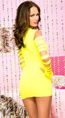 Heartbreaker Cut Out Long Sleeve Mini Dress - Neon Yellow