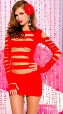 Heartbreaker Cut Out Long Sleeve Mini Dress - Red