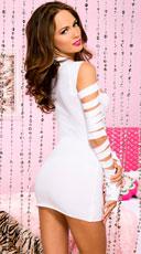 Heartbreaker Cut Out Long Sleeve Mini Dress - White