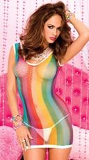 Rainbow Fishnet Chemise - Rainbow