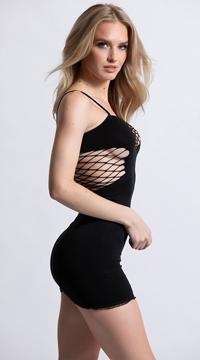 Mini Dress with Net Cut Outs - Black