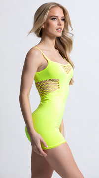 Mini Dress with Net Cut Outs - Neon Yellow