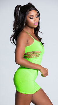Mini Dress with Net Cut Outs - Neon Green