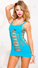 Seamless Strappy Mini Dress - Turquoise