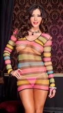 Long Sleeve Rainbow Net Mini Dress - Rainbow