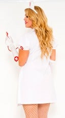 Plus Size Sexy Nurse on Duty Costume - Red/White