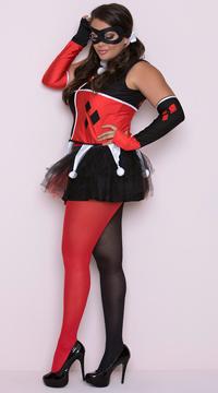 Plus Size Harlequin Jester Costume - Red/Black/White