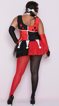 Plus Size Harlequin Jester Costume - Red/Black/White