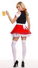 Beer Girl Costume - Red/Black/White