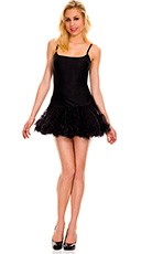 Spaghetti Strap Petticoat Dress - Black