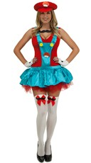 Red Playful Plumber Costume - Red/Blue