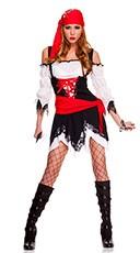 Pirate Vixen Girl Costume - Black/White/Red