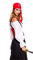Plus Size Jewel of the Night Pirate Costume - Black/Red/White
