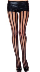 Sheer Pantyhose With Stripes - Black