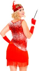 Plus Size Sequin Sparkly Fearless Flapper Costume - Red