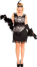 Plus Size Sequin Sparkly Fearless Flapper Costume - Black