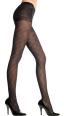Spandex Diamond Criss Cross Pantyhose - Black